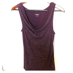 Purple scoop neck sparkle tank from Express
